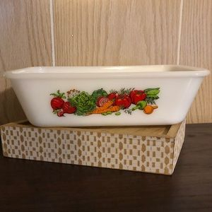 Vintage Glasbake Baking Pan Vegetable Pattern